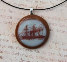 Steam Boat Fused Glass Pendant by FusedElegance