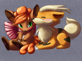 Vulpix and Growlithe--Christmas Gift by Togechu