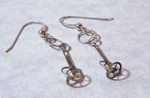 Silver Steampunk Gear Dangle Earrings by SoundwarpSG-1