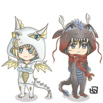 Snk Dragon Chibi - Annie and Mikasa by mewTalina