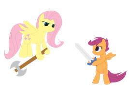 Versus: Fluttershy and Scootaloo by Deoxys413