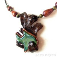 Fish Ceramics and wood - Necklace 1080 by AmberSculpture