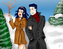 Bruce and Diana: Frist Snow WIP by SquirrelKitty76