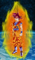 Songoku Super Saiyan God by Niiii-Link