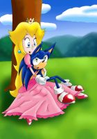 Sonic and Peach together (Soneach) by SweetSilvy