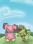 Pokemon Township - Kecleon messing with Snubbull! by Juicy-Goop