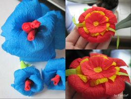 Origami flowers in the making by FaridaF
