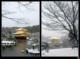 Kinkakuji in Snow by tensai-riot