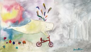whale with red bicycle by imFragrance