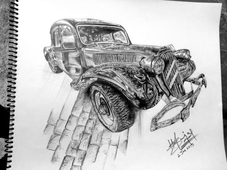 3D Rolls Royce with graphite on A4 paper. by hasnaindalal