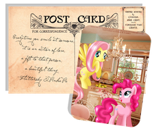Pony Postcard - Fluttershy and Pinkie Pie by selinmarsou