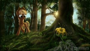 Applejack in the forest by FireofBiscuits
