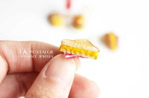 Miniature Toasted Sandwich Ear Studs Jewellery by LaNostalgie05