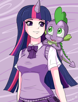 Twilight and Spike by Ninja-8004