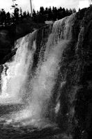 Black and white waterfall by CheezyChick