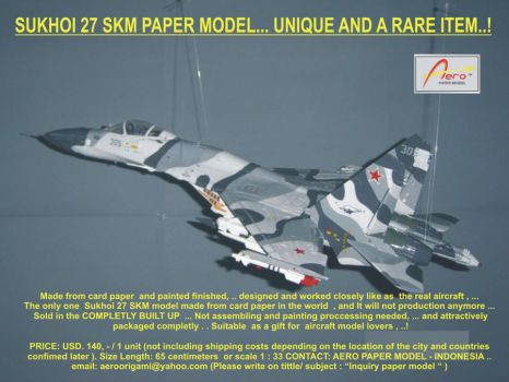 SU 27 model made from paper by aeroorigami