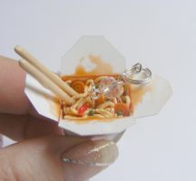 chinese take out with noodles necklace by NeatEats by rhonda4066