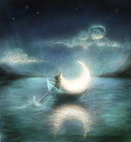Floating moon by MariaHobbit