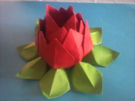 Origami lotus by Skrotee