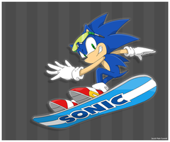 Sonic on snowboard by JacobMainland