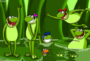 Frog Family by BluebottleFlyer