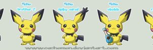 Pichu forms by Cachomon