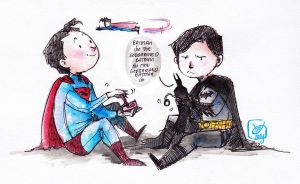 Superman and Batman by Microbluefish