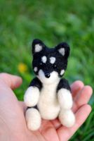 Needle felted Lupo detail by Pawkeye
