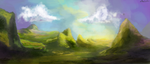 Mountains and colorful skies by Lukeine