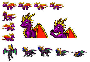Spyro and Destro sprites:just getting started by Destro-the-Dragon