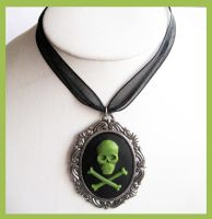 Black and Green Skull Cameo by cherryboop