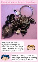 Black and white heart keychain by fairy-cakes