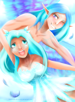 2 Worlds 1 Crystal :Art trade: by Dewdrops-of-Crystal