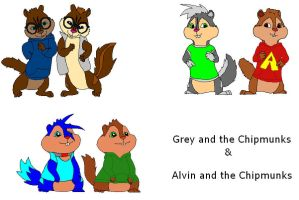 Grey and the Chipmunks N  Alvin and the Chipmunks by ScourgeXNazo2