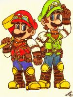 Super Steampunk Bros. by Villaman89