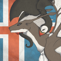 Hetalia Dragons - Iceland and Mr.Puffin by Motion-Horizon
