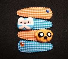 Finn and Jake Hair Clippies by smokesnsnax
