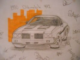'70 Olds 442 Car Drawing by Danchix