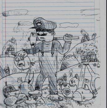 Pen Drawing: Mario vs. The Angry Birds by DogMan93