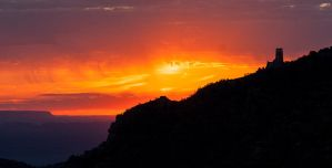 Burning Sunrise at Desert View Watchtower by kennedmh