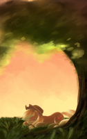 Napping Applejack + Speedpaint by Seyllah