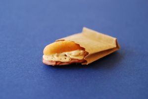 1:12 Scale Polymer Clay Ham and Cheese Sandwich by sophiagreco