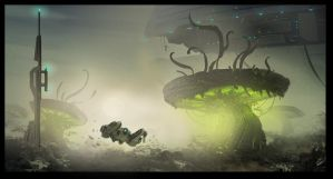 landscape alien World ideation sketch by JohnMcCambridge