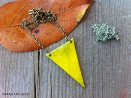 Recycled Triangle Necklace Yellow by Folksaga