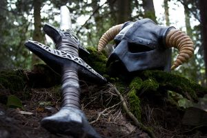 Skyrim helmet and sword by emilyrosa