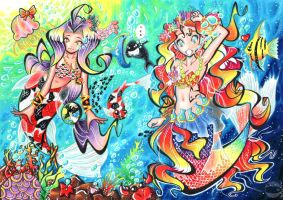 Two Mermaids - Coloured by hiru-miyamoto