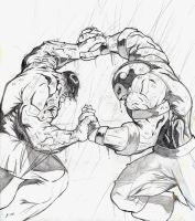 Hulk v. Juggernaut 1st pencils by evaklear