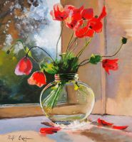 Poppies in a glass vase by Dreamnr9