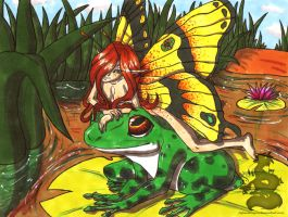 Frog and fairy by Japandragon