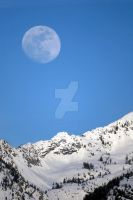 Moon Over Wasatch Mountains by houstonryan